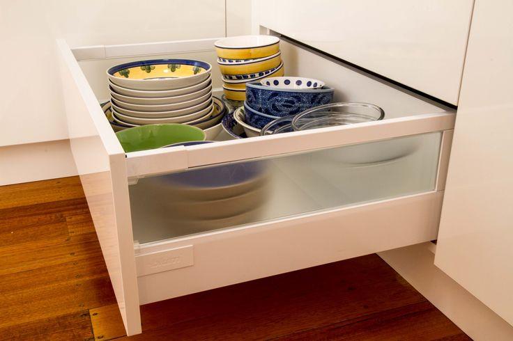 Deep plate drawer. Blum drawer runner. www.thekitchendesigncentre.com.au