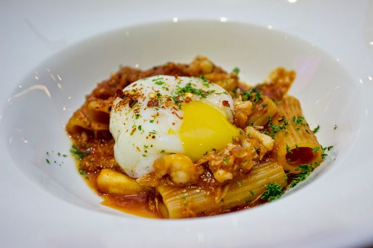 Spanner chilli crab rigatoni with onsen egg
