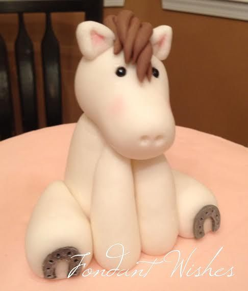 "Meet ""Fred"", the fondant horse cake topper! Fred can be customized for your pony themed party cake. Visit fondantwishes.com for a price quote or to order."