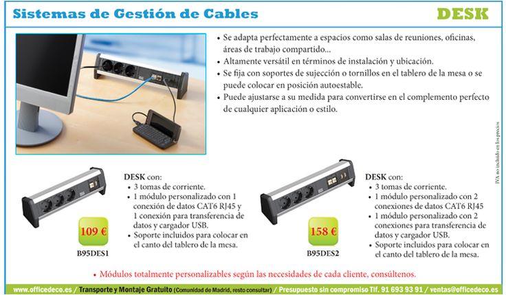 Desk Sistemas de Gestión de Cables, perfecto para salas de reuniones, oficinas y áreas de trabajo compartido.