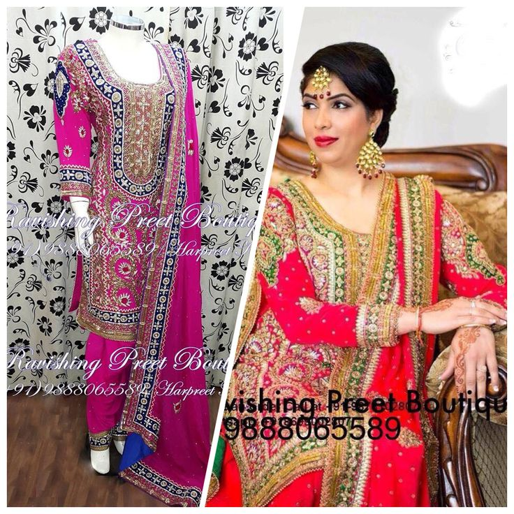 Bridal wear full patiala salwar suit in pure deshien with heavy hand embroidery on shirt , duppta , salwar
