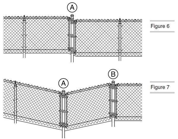 A Drawing Shows How To Install The Chain Link Fence On Uneven Ground Chain Link Fence Installation Chain Fence Chain Link Fence