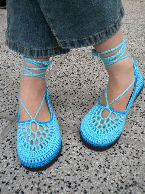 Pacific Blue Aqua Crochet Shoe-Slippers