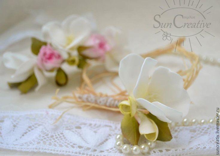 Купить Комплект свадебных аксессуаров..Гребень и бутоньерка. - бледно-розовый, гребень для волос