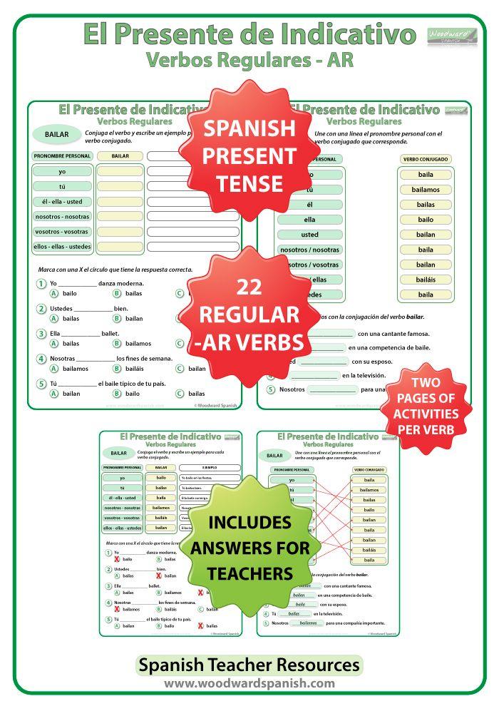 spanish present tense conjugation worksheets regular ar verbs spanish worksheets and. Black Bedroom Furniture Sets. Home Design Ideas
