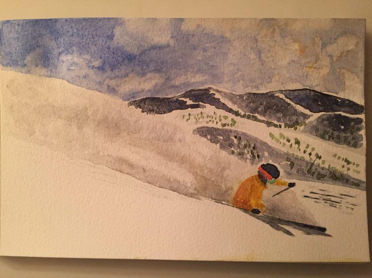 Skier skiing watercolor