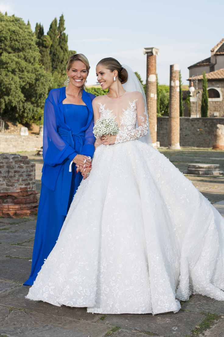 TRIESTE, ITALY - JUNE 15:  (GERMANY, AUSTRIA, SWITZERLAND OUT UNTIL 26 June 2017) Victoria Swarovski and her mother Alexandra Swarovski attend the wedding of Victoria Swarovski and Werner Muerz on June 16, 2017 in Trieste, Italy.  (Photo by Chris Singer/Johannes Kernmayer/CUEX GmbH/Getty Images) via @AOL_Lifestyle Read more: https://www.aol.com/article/lifestyle/2017/06/21/heiress-victoria-swarovski-crystal-wedding-gown/22528718/?a_dgi=aolshare_pinterest#fullscreen