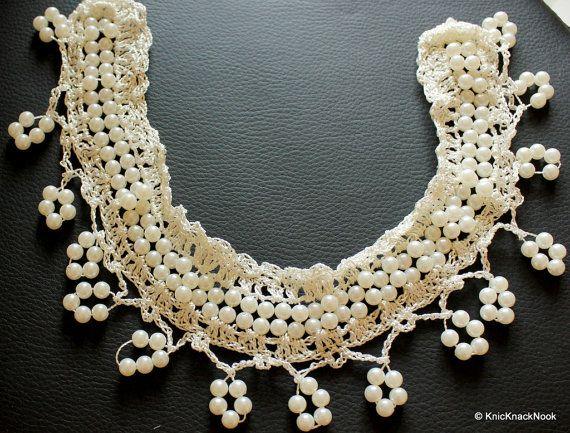 White Pearl Neckline Collar Crochet Applique  by KnicKnackNook