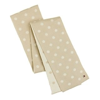 Tommy Hilfiger Women's Beige Polka Dot Wool Scarf
