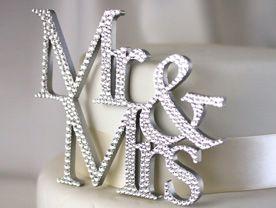 Mr & Mrs  Swarovski Crystal Covered Cake Topper.