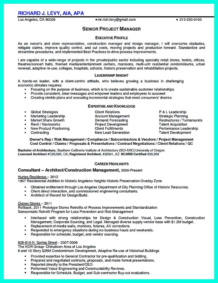 awesome Perfect Construction Manager Resume to Get