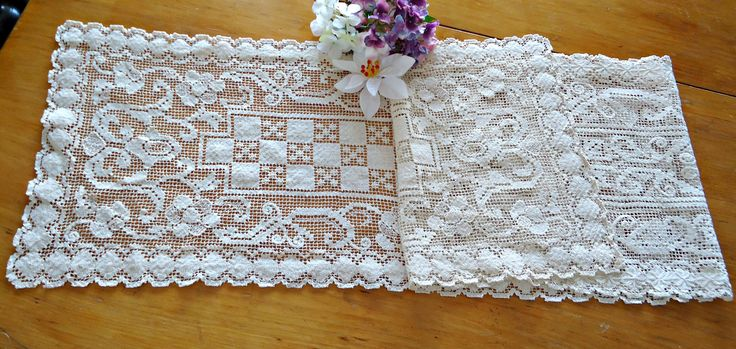 Vintage Long Runner Filet Ecru Doily Centerpiece F1 by TreasureCoveAlly on Etsy