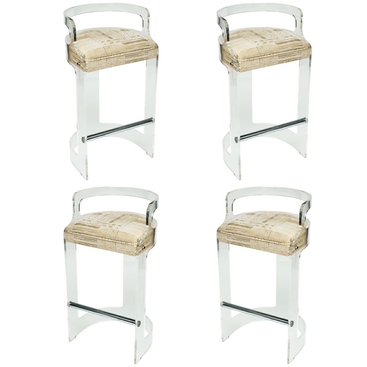 Four Lucite Bar Stools Style Of Charles Hollis Jones Bar