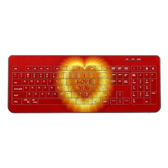 I Love You Wireless Keyboard. By http://www.zazzle.com/htgraphicdesigner* The perfect accessory to your computer!   This wireless keyboard features a 102 key layout with numeric pad for speedy number crunching. #wireless #keyboard   #computer #red #love #heart #pretty #zazzle #gift #giftidea #laptop