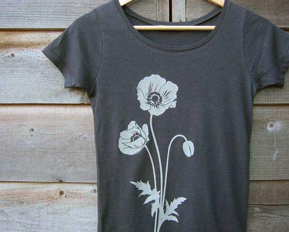 Womens T shirt with Poppy  Organic Cotton  Gray / Grey by Uzura