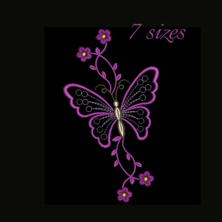Flower machine embroidery design butterfly flower designs folk instant digital download pattern  designs hoop file towel 2 by SvgEmbroideryDesign on Etsy