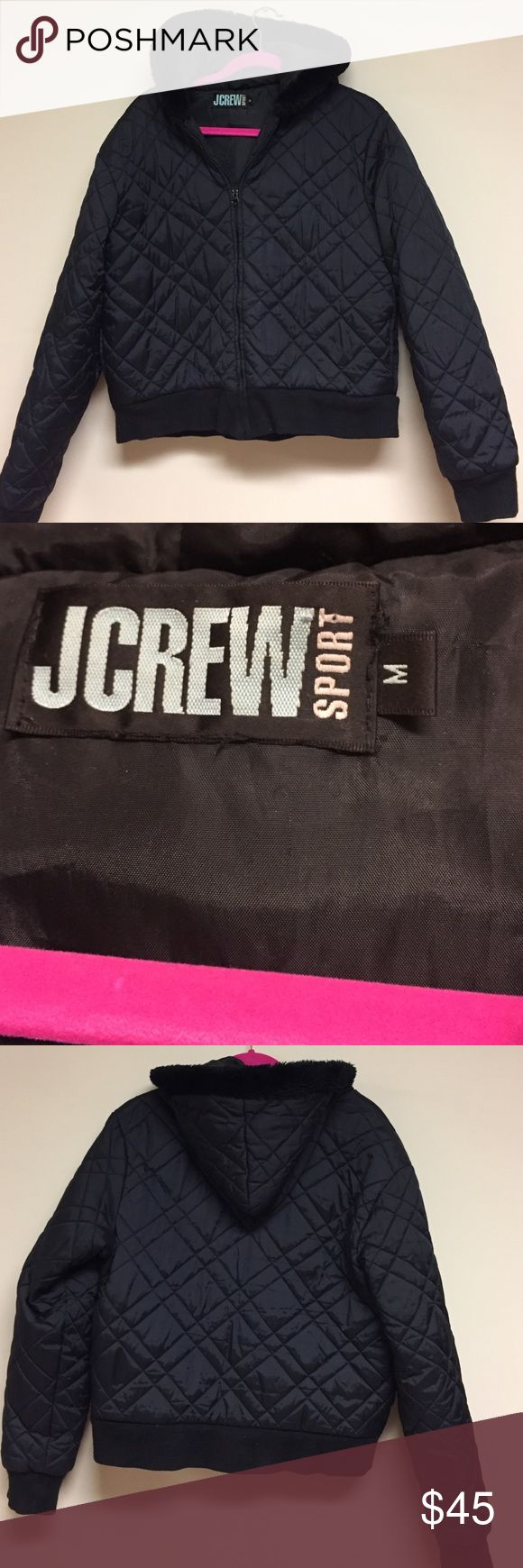 J Crew sport coat size M Black quilted J Crew coat, zipper front, fully lined, hidden inside zipper pocket. Two outside pockets, slight wear to waist band. Under arm to under arm 21.5 inches    Shoulder to hem 22 inches.  Sleeve length 24.5 inches J. Crew Jackets & Coats Puffers