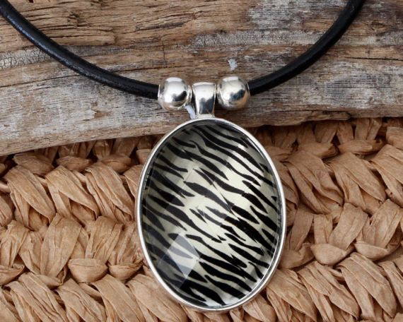 Zebra Print Necklace  Animal Print Necklace  by africaohafrica