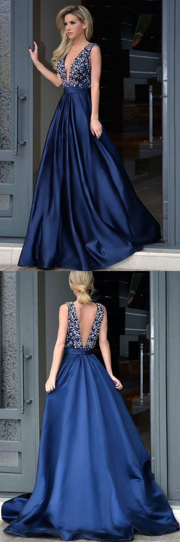 V-neck Royal Blue Satin Beading Prom Dresses With Sweep Train PG443 #promdress #eveningdress