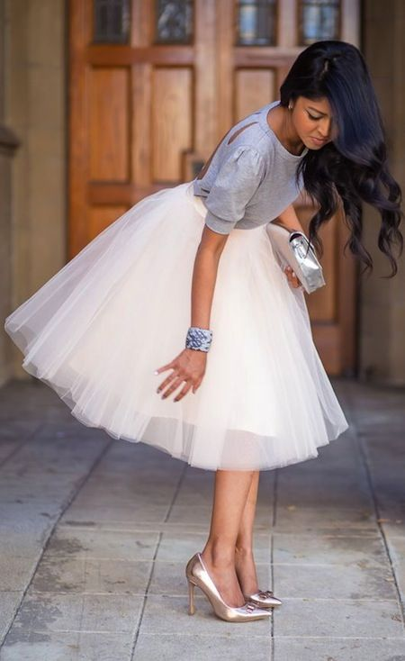I love this whole big, fat skirt and a sweater on top thing.  With beautiful, ladylike heels... What's TRENDING... - My Fash Avenue