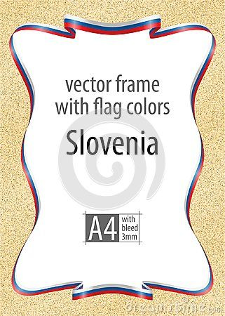 Frame and border of ribbon with the colors of the Slovenia flag, template elements for your certificate and diploma. Vector, with bleed three mm.