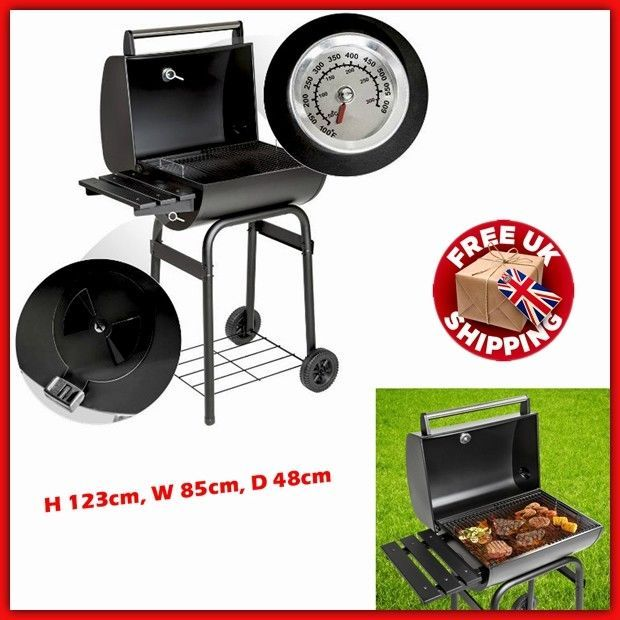Charcoal Barbeque Smoker Cooking Barrel BBQ Grill Garden Portable Outdoor Patio