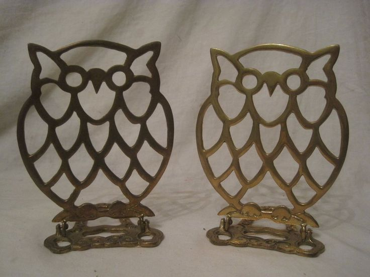 Details About Vintage Folding Brass Owl Bookends Pair