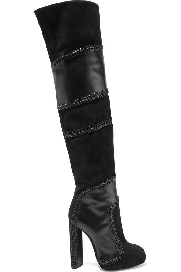 7e0a0e4f9cc7 Suede and leather thigh boots