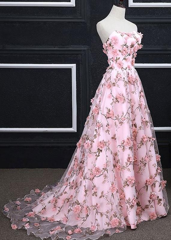 Pink A Line Sweetheart Strapless Sweep Train Floral Print Long Lace Prom Dresses With Flowers 2020 The Dress Balo Elbisesi Balo Elbiseleri
