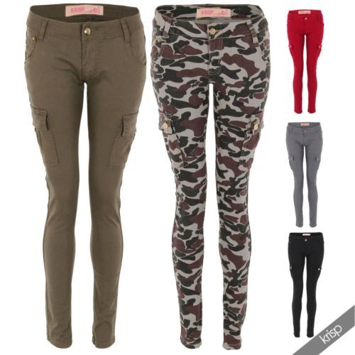 Womens Camouflage Military Cargo Combat Skinny Slim Stretch Jeans Trousers Pants | eBay