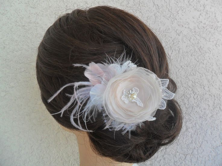 Bridal Headpiece, Feathered Fascinator, Lace Hairpiece, Rustic Vintage Wedding Hair Comb, Bridal Hairpiece, Champagne/Blush/Ivory Hairpiece by therusticcharmer on Etsy https://www.etsy.com/listing/208635474/bridal-headpiece-feathered-fascinator