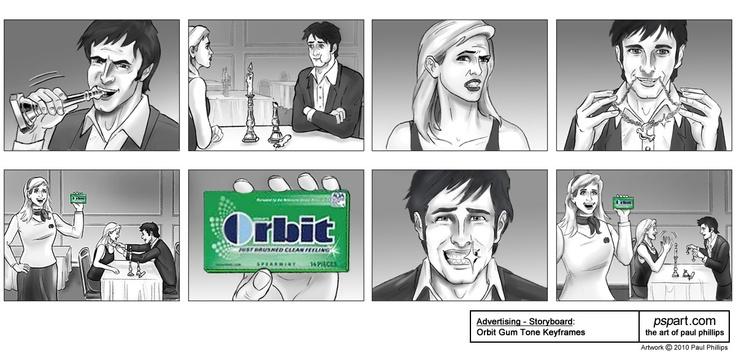Paul Phillips - Advertising Storyboard Art Samples (Orbit Gum - commercial storyboards