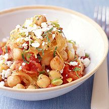 This Greek-Style Spaghetti Squash #recipe (made with feta, chickpeas and sautéed scallions) makes a great side dish or vegetarian main course. #WWLoves