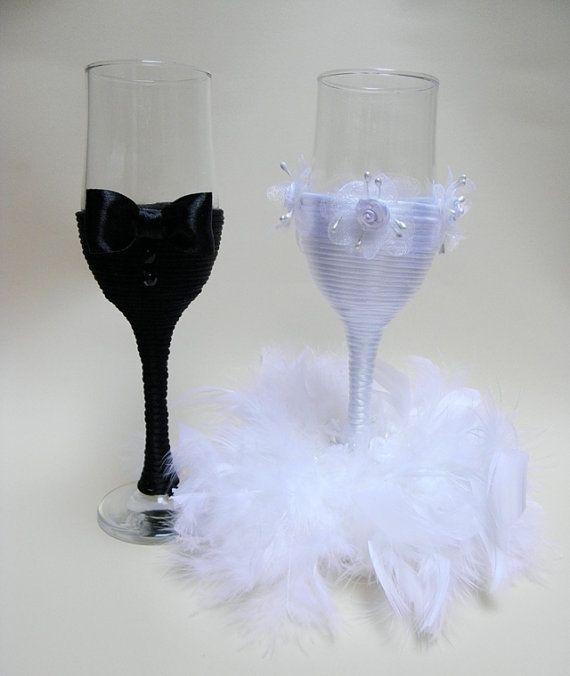 Wedding Champagne Glasses/ Handmade Wedding Flute Glasses/Wedding Decoration/ Bridal/ For the Groom/ Wedding Favors/ Set of 2 glasses on Etsy, $46.30
