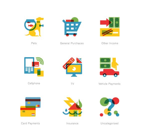 Personal money management website 22 Seven commissioned us to create a set of icons for their website