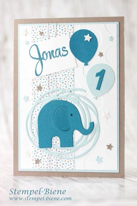 Kindergeburtstag; Geburtstagskarte Junge; 1. Geburtstag; Kinderworkshop; Stampinup Bastelarbeiten; Kinderkarte