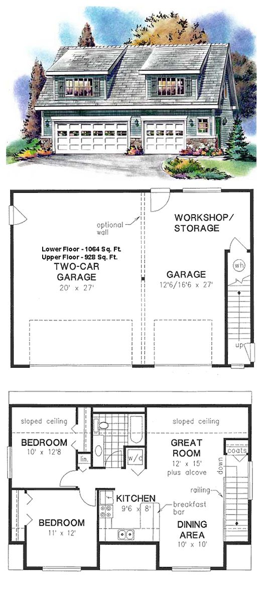 Garage Plan 58557 | Total living area: 928 sq ft, 2 bedrooms & 1 bathroom. #carriagehouse #garageapartment