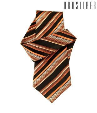 Orosilber Charming Orange-Black Striped Silk Tie