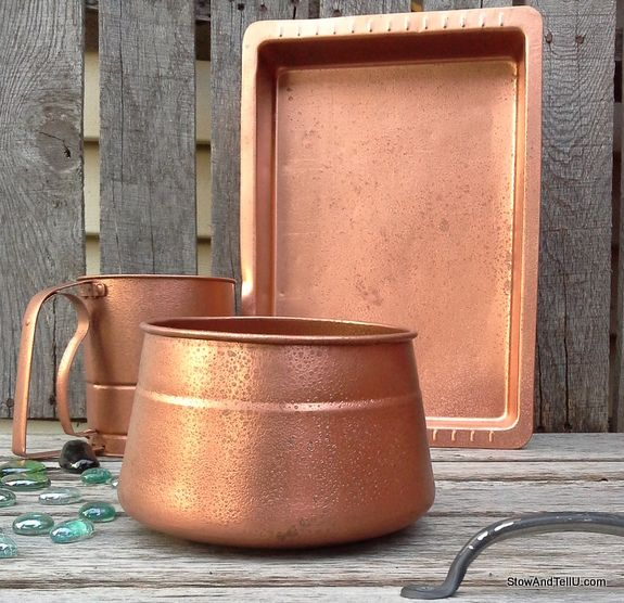 Spray paint faux-hammered-copper-paint-texture, StowAndTellU.com