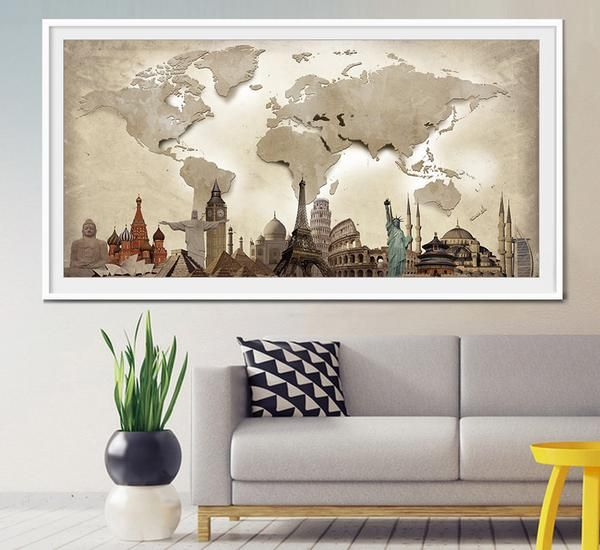 Mejores 20 imgenes de extra large wall art world map en pinterest world travel map world map poster world map wall art extra large wall gumiabroncs