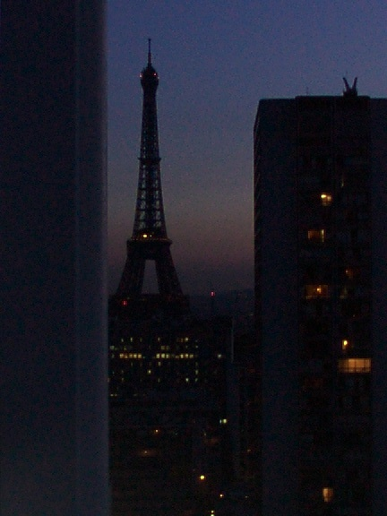Eiffel Tower first time from hotel room at night