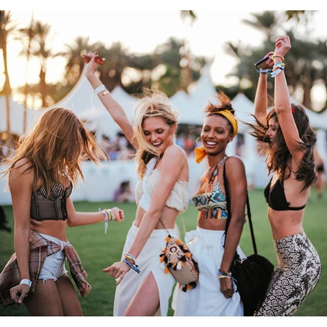 Josephine Skriver, Romee Strijd, Jasmine Tookes and Taylor Hill at Coachella 2016