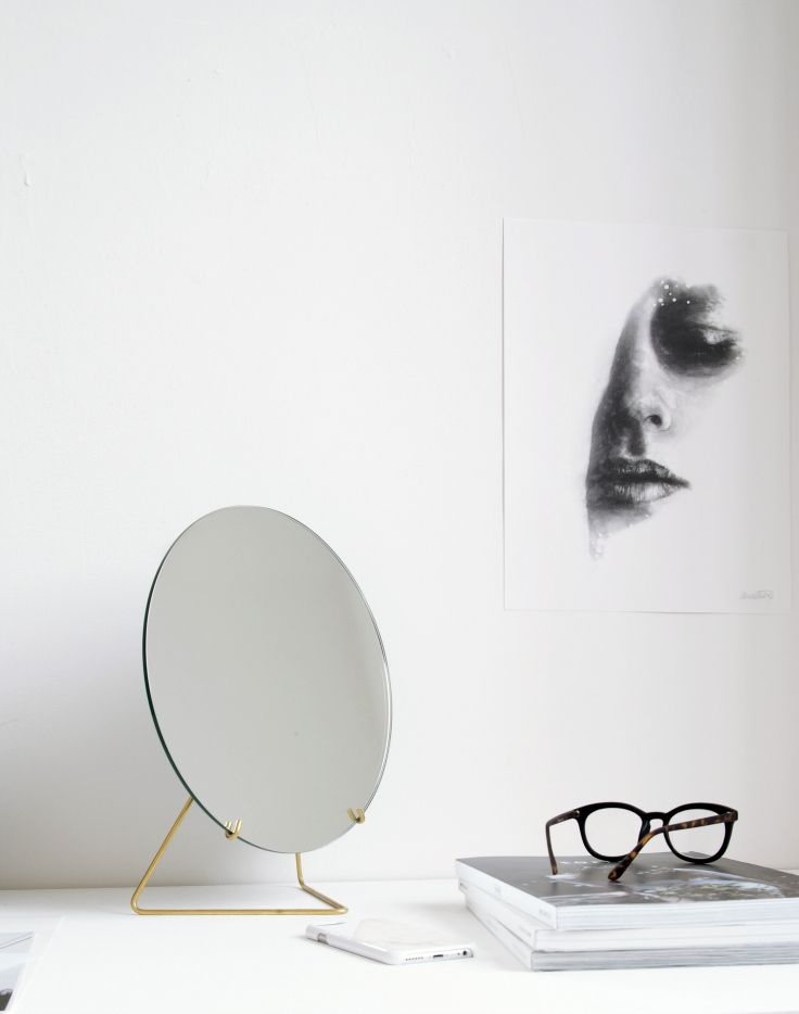 """Beautiful Art print """"Face III"""" by Anna Bulow in black and white. Poster of a beautiful girls face. Brass Mirror minimal design."""