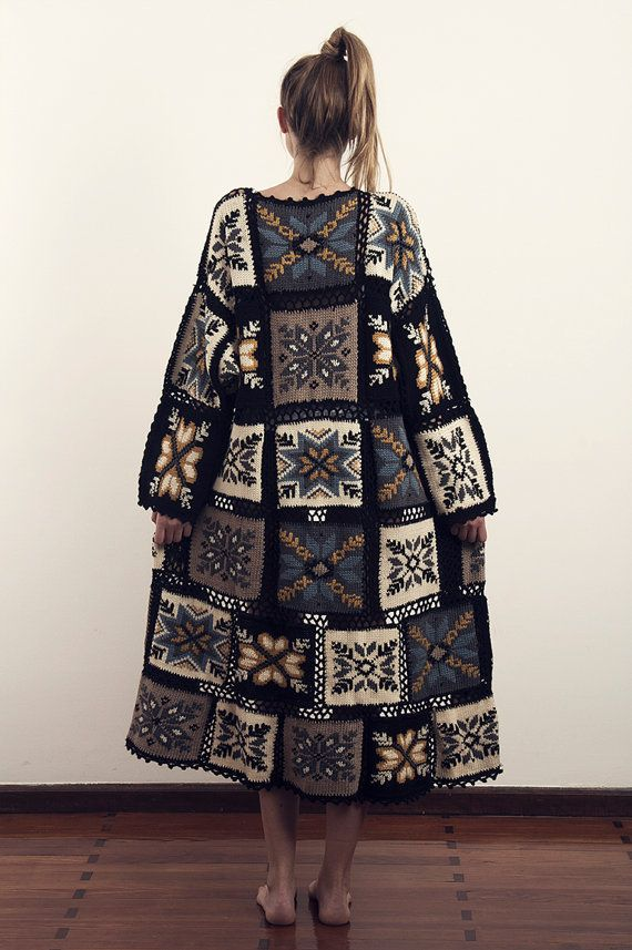 Vintage MOSCHINO Couture Duster Coat 1980s Boho Hippie Southwestern Crochet Patchwork