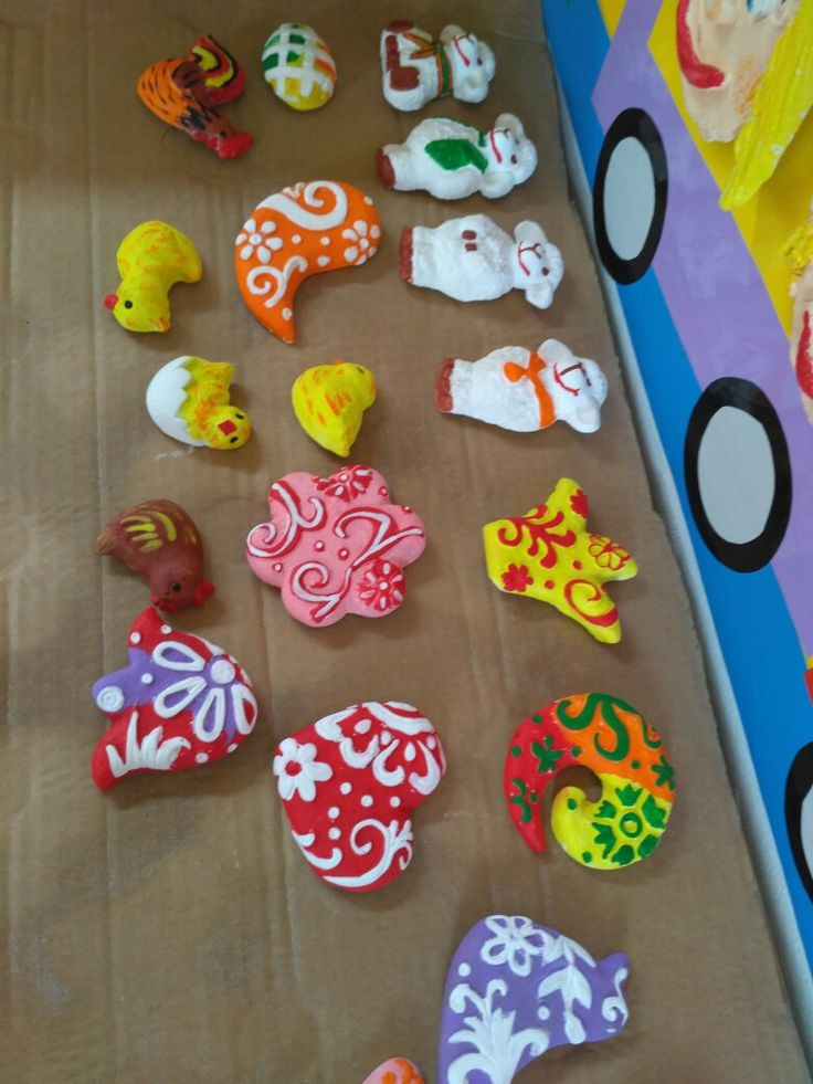 Velikonoční magnetky ze sádrových odlitků