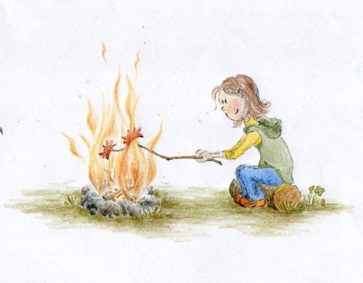 Ema peče buřt   ilustrace do dětské knížky Ema a Líza (kliknutímpřejdetenadalšípoložkugalerie)
