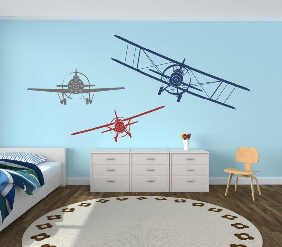 Airplane Wall Decals Set of Three Planes Biplane and Single