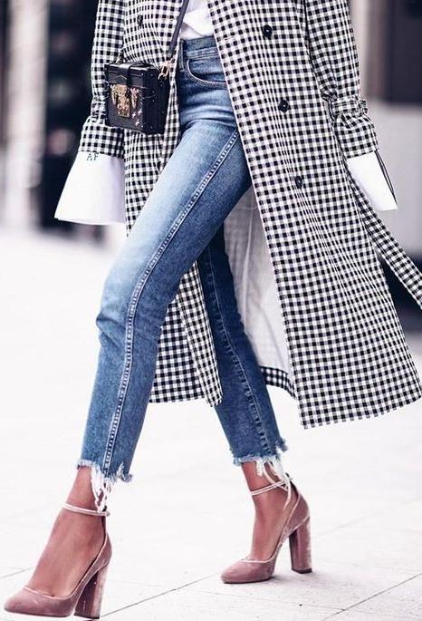 gingham coat. velvet heels.