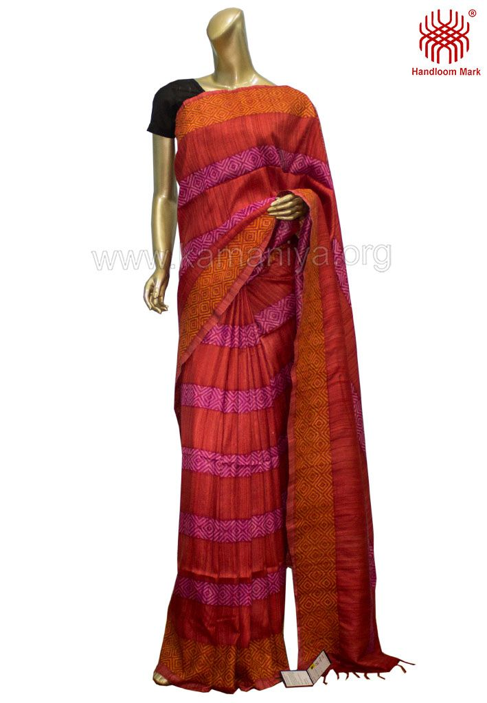 Description: This is a hand block printed Gachi Tussar Saree with kantha work on the border & body.The mannequin is wearing a blouse from our stylist's collection. Code No: S/DAM02 Visit our Website: http://kamaniya.org/sarees-1/