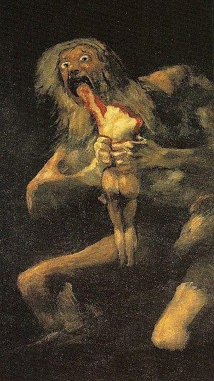 Francisco de Goya, Saturnus verslindt zijn zoon, 1820-1823, 146 x 83 cm. Prado Museum, Madrid - Biografie Goya: http://www.artsalonholland.nl/grote-meesters-kunstgeschiedenis/francis-goya-spaanse-kunst